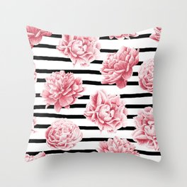 Simply Drawn Stripes and Roses Throw Pillow