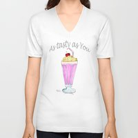 drink V-neck T-shirts featuring drink  by Watercolor_2011