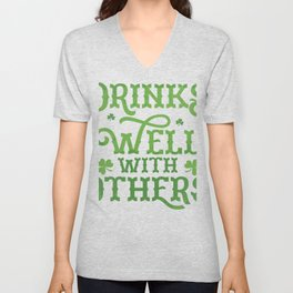 St Patrick's Day Drinking print Drinks With Others Unisex V-Neck