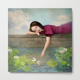 Girl at the Fountain Metal Print