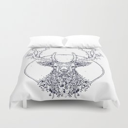 Flowers and Stag [Monochrome] Duvet Cover