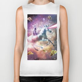 Space Cat Riding Unicorn - Laser, Tacos And Rainbow Biker Tank