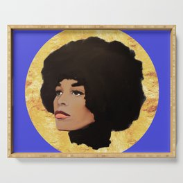 Feminist Angela Davis as a Young Black Lives Matter Activist for Panthers Serving Tray