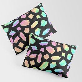 Rainbow Crystal Pattern on Black Pillow Sham