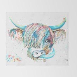 Highland Cattle full of colour Throw Blanket
