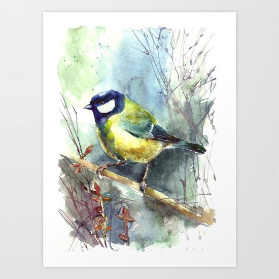 Watercolor aquarelle titmouse bird Art Print