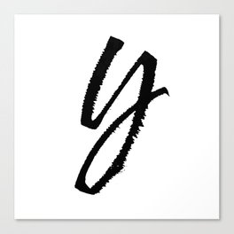 Letter Y Ink Monogram Canvas Print