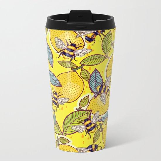 Yellow lemon and bee garden. Metal Travel Mug