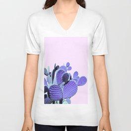 Prickly Cactus - Purple on Pink #cactuslove #tropicalart Unisex V-Neck