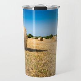 Hay bales in France Travel Mug