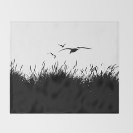 Seagulls Flying over Sand Dunes Throw Blanket