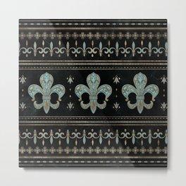Vintage Fleur-de-lis ornament Teal and Gold  Metal Print