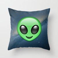 emoji Throw Pillows featuring Alien Emoji by Nolan Dempsey