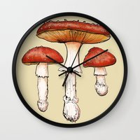 mushrooms Wall Clocks featuring Mushrooms by CHAR ODEN