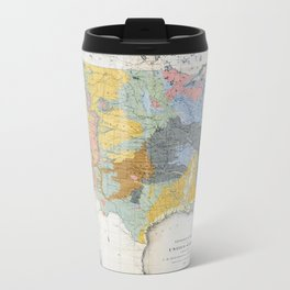 1874 Geological Map of the United States Metal Travel Mug