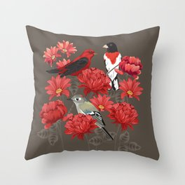 Birds and Roses Throw Pillow