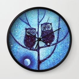 Owls On Menorah Tree Wall Clock