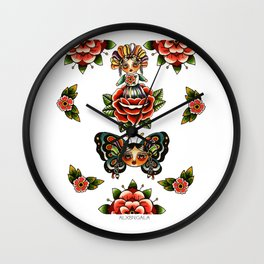 Mexican Dolls Flash, rose doll and butterfly only. Wall Clock