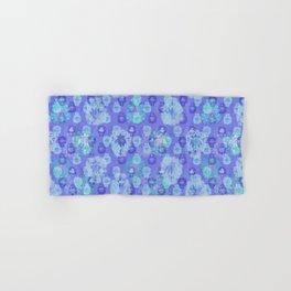 Lotus flower - pool blue woodblock print style pattern Hand & Bath Towel