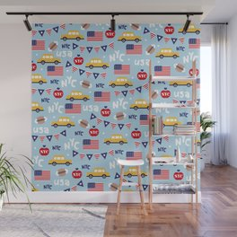 Made in the USA New York City icons pattern Wall Mural