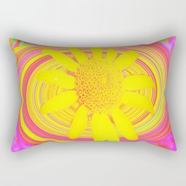 Yellow Sunflower on a Fuchsia Psychedelic Swirl Rectangular Pillow