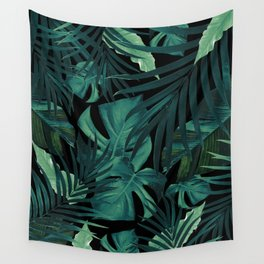 Tropical Jungle Night Leaves Pattern #1 #tropical #decor #art #society6 Wall Tapestry