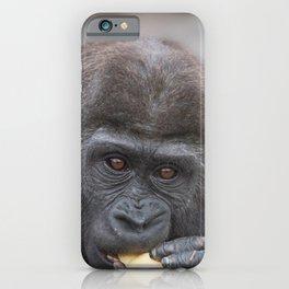 Gorilla Baby Having A Snack iPhone Case