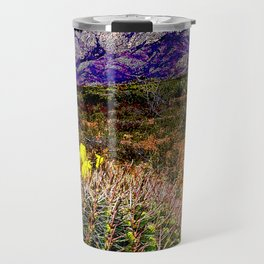 Blooming Barrel Cactus near the Organ Mountains, New Mexico Travel Mug