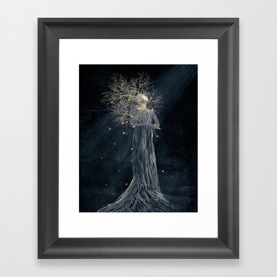 Dark portrait in autumn II Framed Art Print