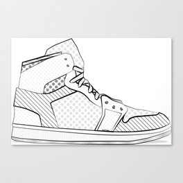 sneaker illustration pop art drawing - black and white graphic Canvas Print