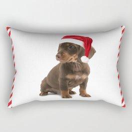 Daschshund Puppy Wearing a Santa Hat Rectangular Pillow