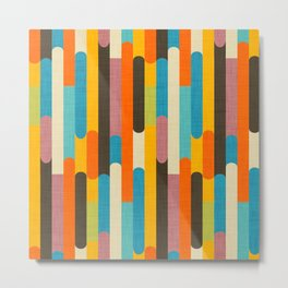 Retro Color Block Popsicle Sticks Orange Metal Print