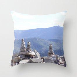 Rock Cairns Over the Mountain Throw Pillow