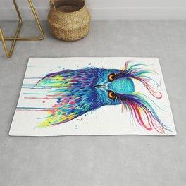 Colorful blue owl Rug