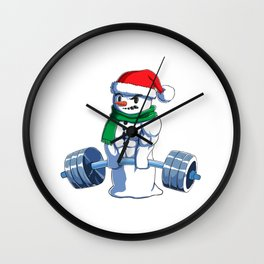 Christmas Weightlifting Xmas Deadlift Gift Idea Wall Clock