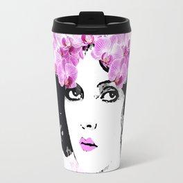 WOMAN PINK ORCHIDS AND MAGNOLIAS Travel Mug