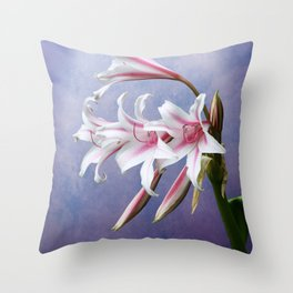 Pink Striped White Lily Flowers Throw Pillow