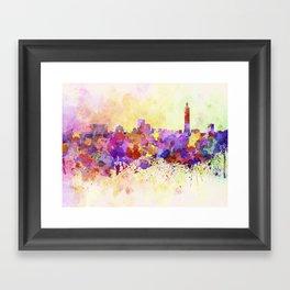 Taipei skyline in watercolor background Framed Art Print