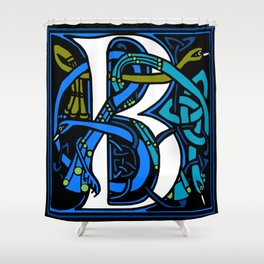 Celtic Peacocks Letter B Shower Curtain