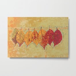 Abstract Dots Dried Leaves Metal Print