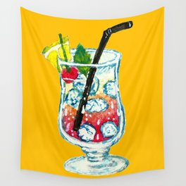 Watercolor Summer Cocktail Wall Tapestry