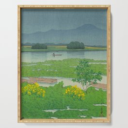 Kawase Hasui Vintage Japanese Woodblock Print Flooded Asian Rice Field Mountain Parallax Landscape Serving Tray