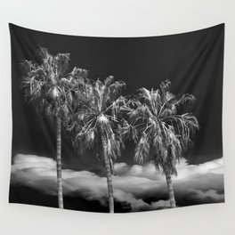 Palm Trees in Black and White on Cabrillo Beach Wall Tapestry