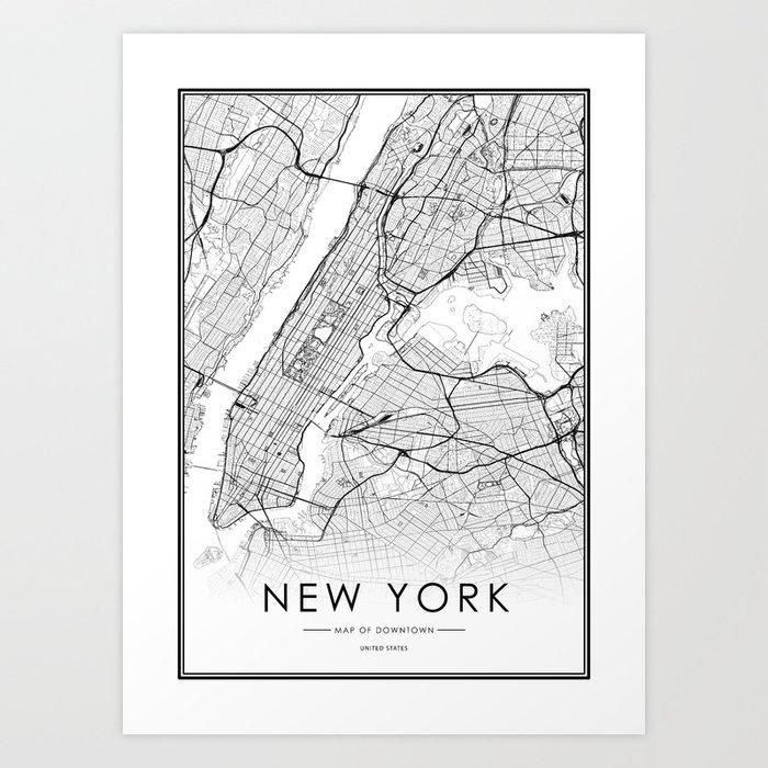 New York City Map United States White and Black Kunstdrucke