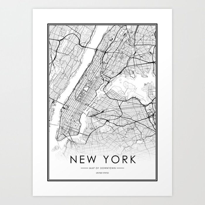 New York City Map United States White And Black Art Print By