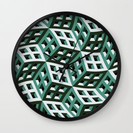 Abstract twisted cubes Wall Clock