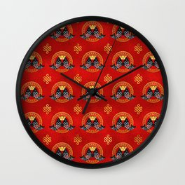 Good Fortune Symbol with Koi Fish and coin Wall Clock