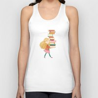 library Tank Tops featuring Library Girl 2 by Stephanie Fizer Coleman