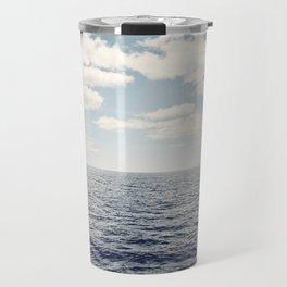 Dark Blue Ocean Seascape, Navy Sea Landscape Photography, Beach Clouds Horizon, Coastal Photo Travel Mug
