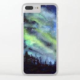 Galaxy Nebula Watercolor Northern Lights Aurora Borealis Clear iPhone Case
